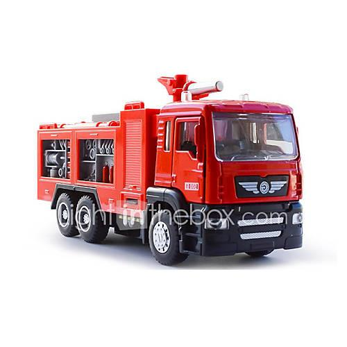 Die-Cast Vehicles Pull Back Vehicles Toy Cars Fire Engine Vehicle Metal Alloy Plastic Metal Children's Kids Gift Action  Toy Figures