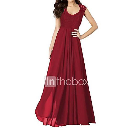 Women's Swing Dress - Solid, Lace Backless Cut Out Ruched Maxi U Neck