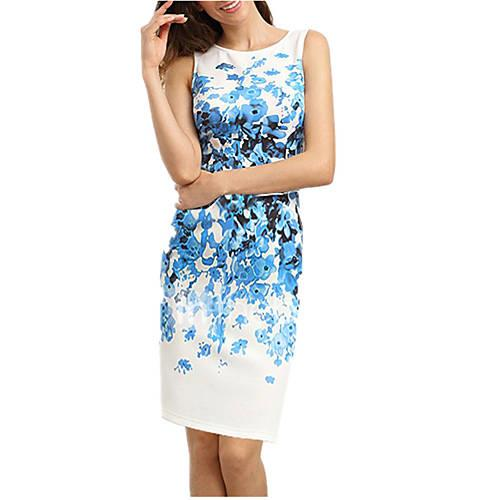 Women's Going out Sophisticated Sheath Dress - Floral White, Print / Spring / Summer / Floral Patterns / Slim