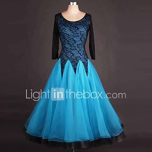Ballroom Dance Dresses Women's Performance Spandex / Organza Draping / Lace / Splicing Long Sleeve High Dress