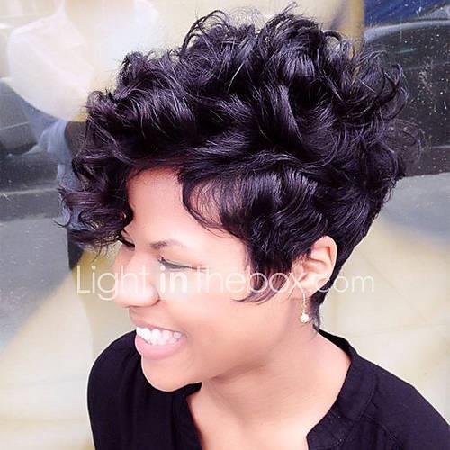 Human Hair Capless Wigs Human Hair Curly Layered Haircut Pixie Cut With Bangs African American Wig Short Machine Made Capless Wig Women's