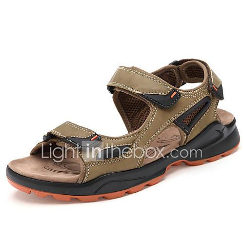 Men's Shoes Cowhide Spring / Summer Comfort Sandals Upstream Shoes Coffee / Green