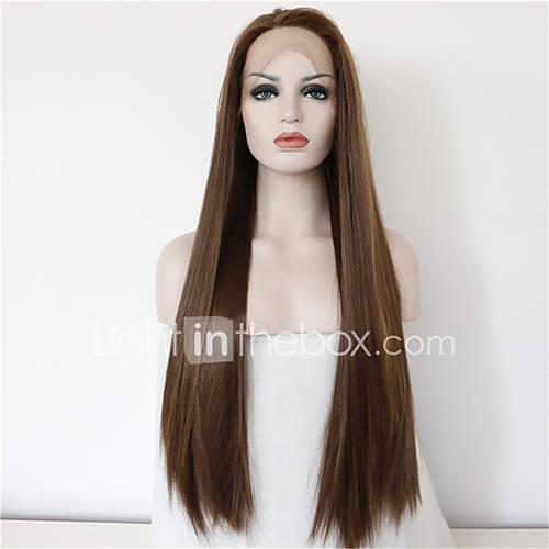 Synthetic Lace Front Wig Straight Synthetic Hair Natural Hairline / Middle Part Brown Wig Women's Long Lace Front