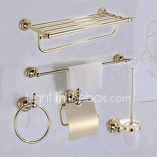 Bathroom Accessory Set Antique Brass 5pcs - Hotel bath Toilet Paper Holders / tower bar / tower ring