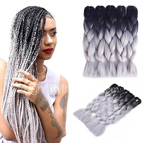 1b gray ombre jumbo braid hair extension kanekalon fiber for twist braiding hair 500g pack