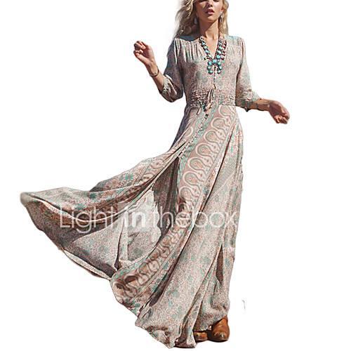 Women's Beach Holiday Vintage Street chic Sheath Swing Dress Print High Rise Maxi V Neck