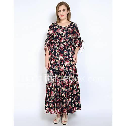 Women's Party Holiday Plus Size Vintage Sexy Sophisticated Loose Swing Dress,Floral Round Neck Maxi Long Sleeves Cotton Polyester All
