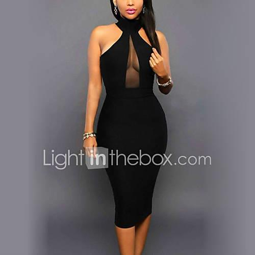 Women's Club Holiday Street chic Bodycon Dress - Patchwork Black, Backless Mesh High Rise Crew Neck