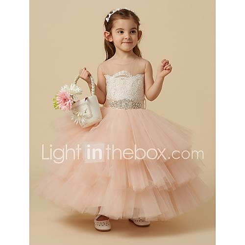 Ball Gown Knee Length Flower Girl Dress - Lace / Tulle Sleeveless Jewel Neck with Beading / Buttons / Sash / Ribbon by LAN TING BRIDE