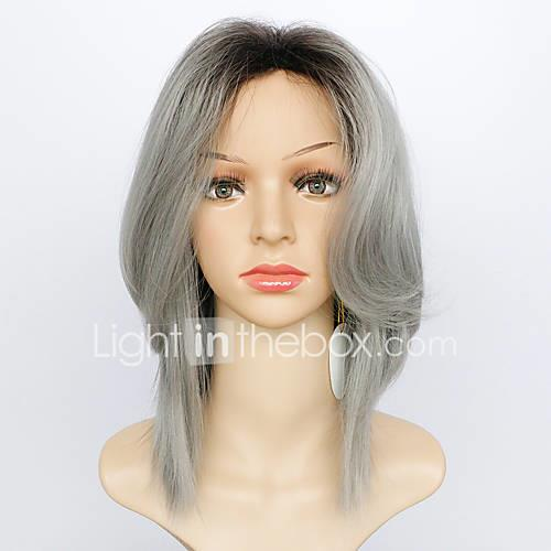 Synthetic Wig Natural Wave Layered Haircut / With Bangs Synthetic Hair Ombre Hair / Dark Roots Gray Wig Women's Medium Length