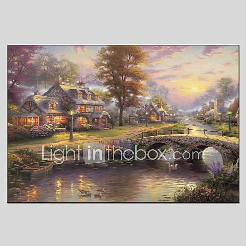 Oil Painting Hand Painted - Landscape Classic Modern Canvas