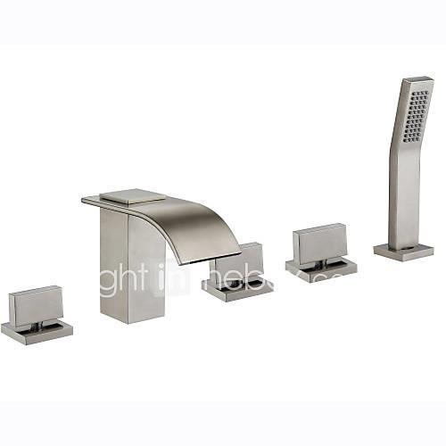 Bathtub Faucet - Art Deco / Retro Modern Nickel Brushed Tub And Shower Ceramic Valve