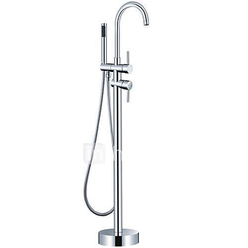 Bathtub Faucet - Contemporary Modern Chrome Floor Mounted Brass Valve