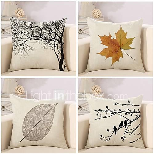 4 pcs Cotton/Linen Pillow Case Pillow Cover, Botanical Classic Novelty Classical Neoclassical Euro Traditional/Classic Retro