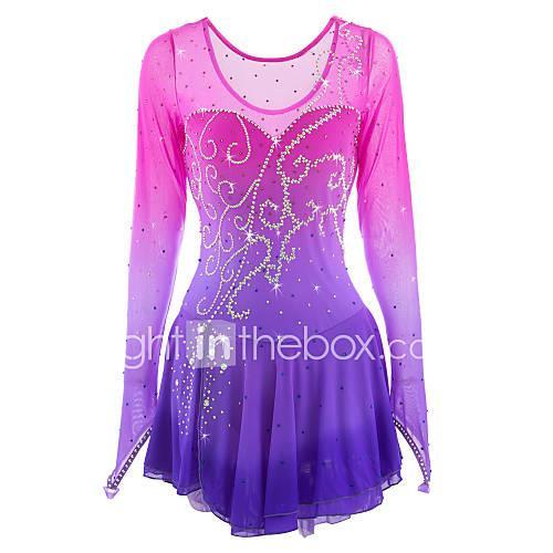 Figure Skating Dress Women's / Girls' Ice Skating Dress Pink / Purple Spandex Rhinestone High Elasticity Performance Skating Wear Handmade