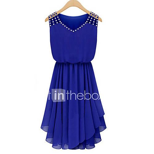 Women's Going out Street chic Chiffon Dress - Solid Colored Blue V Neck