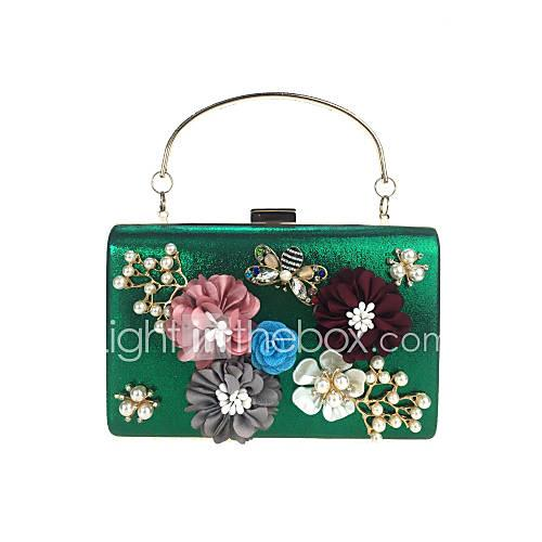 Women's Bags leatherette Evening Bag Rhinestone / Beading / Petal Sky Blue / Purple / Fuchsia