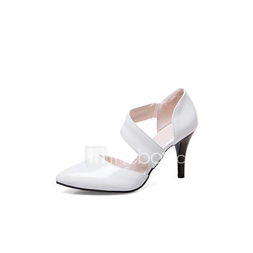 Women's Heels Leatherette Spring Summer Walking Buckle Stiletto Heel White Black Ruby 2in-2 3/4in