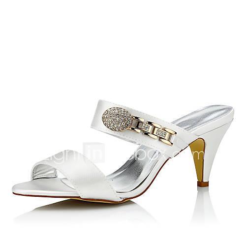 Women's Wedding Shoes Comfort Silk Spring Summer Wedding Party  Evening Dress Comfort Chain Cone Heel Ivory 2in-2 3/4in