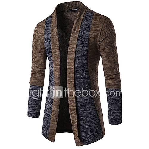 Men's Basic Long Sleeve Butterfly Sleeves Slim Cardigan - Color Block, Patchwork Shawl Lapel