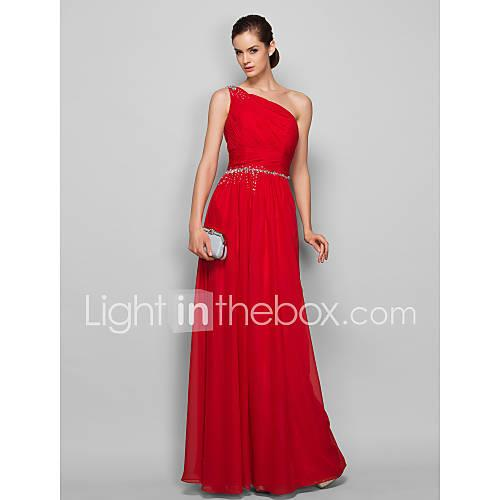 Dress Barn Style Sheath / Column One Shoulder Floor Length Chiffon Prom / Formal Evening Dress with Beading / Ruched by TS Couture
