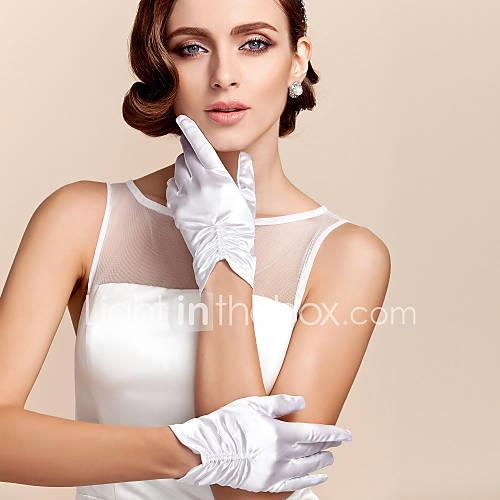 Satin / Polyester Wrist Length Glove Classical / Bridal Gloves / Party / Evening Gloves With Solid