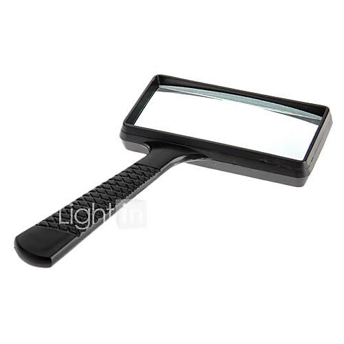 6X Rectangle Handheld Magnifying Glass Magnifier Microscope Plastic Black