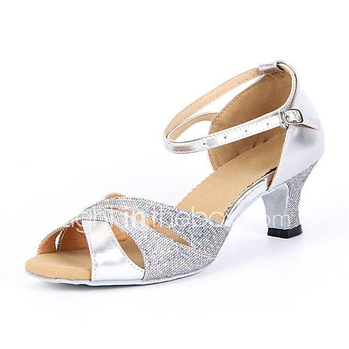 Shall We Women's Latin Shoes / Salsa Shoes Sparkling Glitter Sandal Buckle Chunky Heel Non Customizable Dance Shoes Silver / Blue / Gold / Suede / EU42