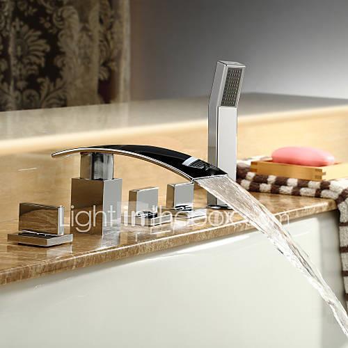 Bathtub Faucet - Contemporary Chrome Roman Tub Ceramic Valve / Brass / Three Handles Five Holes