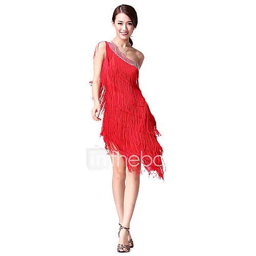 Latin Dance Dresses Women's Performance Cotton Polyester Crystals / Rhinestones Tassel Sleeveless Natural Dress