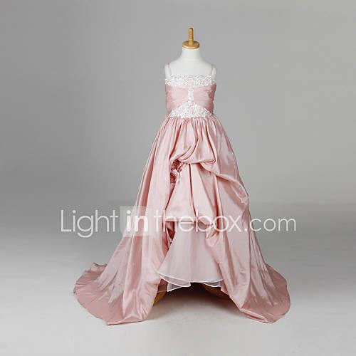 A-Line / Ball Gown / Princess Floor Length / Court Train Flower Girl Dress - Taffeta Sleeveless Straps with Ruched / Flower by LAN TING BRIDE / Spring / Summer / Fall / Engagement Party