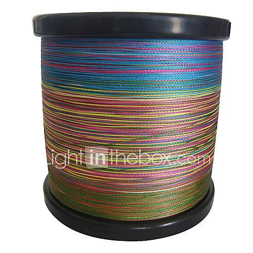 Image of 1000m 1100 yards pe braided line dyneema superline fishing linegreen orange yellow purple fuchsia red blue assorted