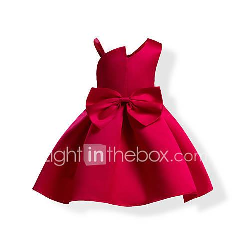 Girl's Solid Dress, Cotton Polyester Summer Sleeveless Bow Blue Red