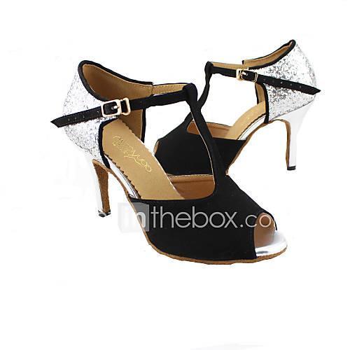 Women's Latin Shoes / Ballroom Shoes Sparkling Glitter Sandal Customized Heel Customizable Dance Shoes Red / Blue / Orange / Leather