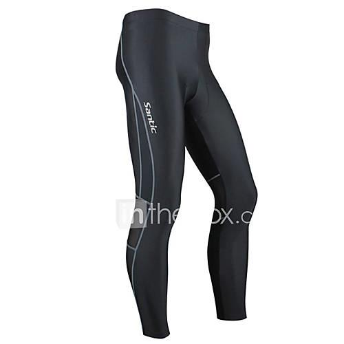SANTIC Men's Cycling Tights - Black Bike Tights, Windproof, Thermal / Warm, Anatomic Design Spandex / High Elasticity / Breathable / Breathable / Advanced Sewing Techniques