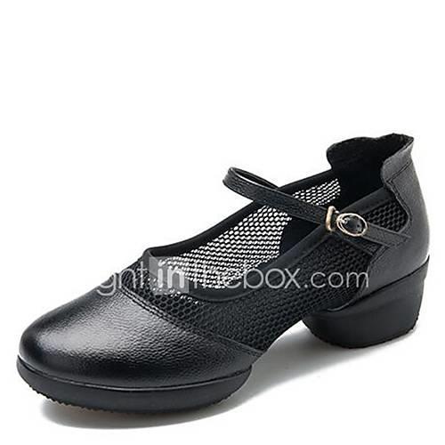 Women's Dance Sneakers Net / Nappa Leather Sneaker Low Heel Dance Shoes Black / Red