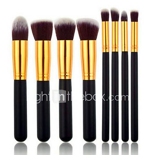 pro high quality 8 pcs synthetic hair golden makeup brush set