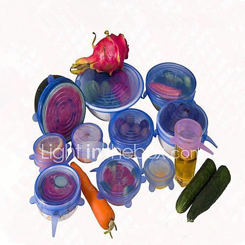 6Pcs/Set Lid Universal Silicone Saran Food Pot Stretch Silicone Cover Pan Kitchen Vacuum Lid Sealer  Random color