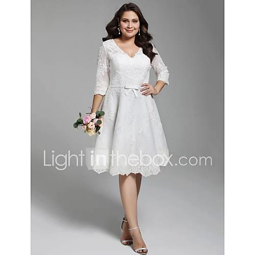 A-Line V Neck Knee Length All Over Lace Made-To-Measure Wedding Dresses with Appliques / Bow(s) / Buttons by LAN TING BRIDE