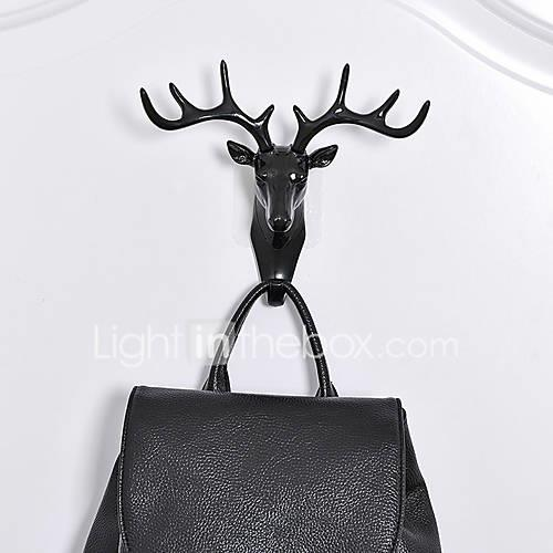Antlers Clothing Handbag Holder  Hanger BUF American Country Style Animal Head Hanging Decoration Retro Antlers Hook Wall Decoration Vintage Resin