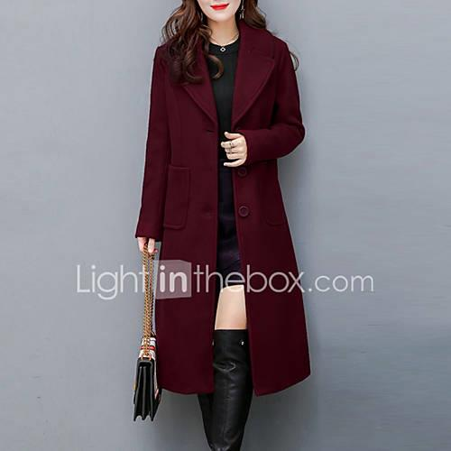 Women's Sophisticated Street chic Plus Size Coat-Solid Colored Shirt Collar