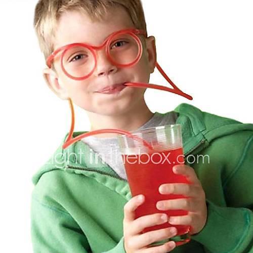 2PCS Glasses Straw Funny Soft Glasses Straw Unique Flexible Drinking Tube Kids Straws Bar Accesso(Random Color)