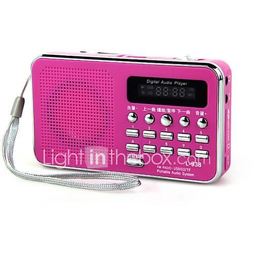 L-938 FM Portable Radio MP3 Player TF CardWorld ReceiverWhite Black Red Blue Pink