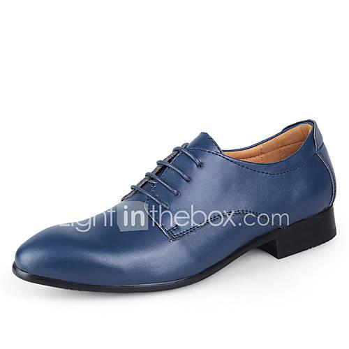 Men's Dress Shoes Leather Spring / Fall Light Soles Wedding Shoes Dark Brown / Blue / Light Brown