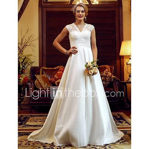 A-Line / Princess V Neck Court Train Lace / Taffeta Made-To-Measure Wedding Dresses with Pearls / Ruched by LAN TING BRIDE / See-Through