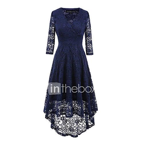 Women's Holiday / Going out Vintage Sheath Dress - Solid Colored Black, Lace Asymmetrical V Neck