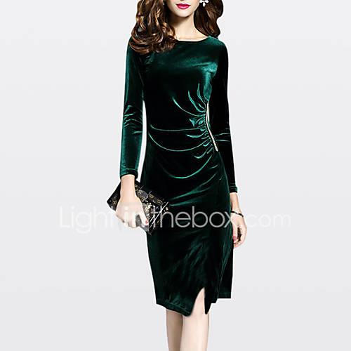 Women's Plus Size Going out Sophisticated Velvet Sheath Dress - Solid Colored / Fall / Winter / Split / Slim