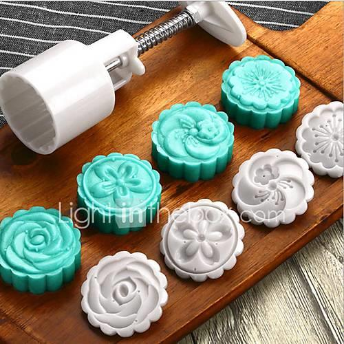5Pcs Round Moon Cake Mold 50g Bread Maker Pastry Baking Tools