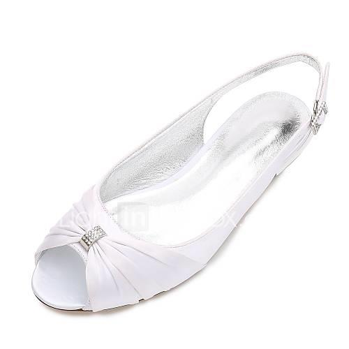 Women's Shoes Satin Spring / Summer Comfort / Ballerina Wedding Shoes Flat Heel Peep Toe Rhinestone / Bowknot / Stitching Lace Blue /