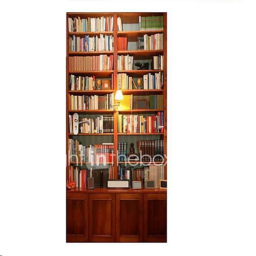 77200cm 3D Bookcase Door Mural Sticker 3D Decorative Many Books Door Mural Decal Home Decor for Kids Room Study